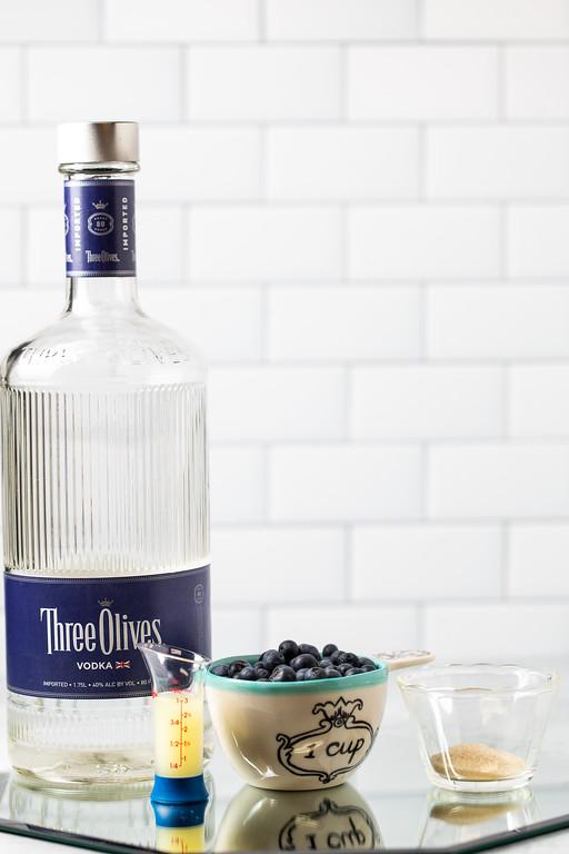 Three Olives Vodka, lemon juice, blueberries and sugar.