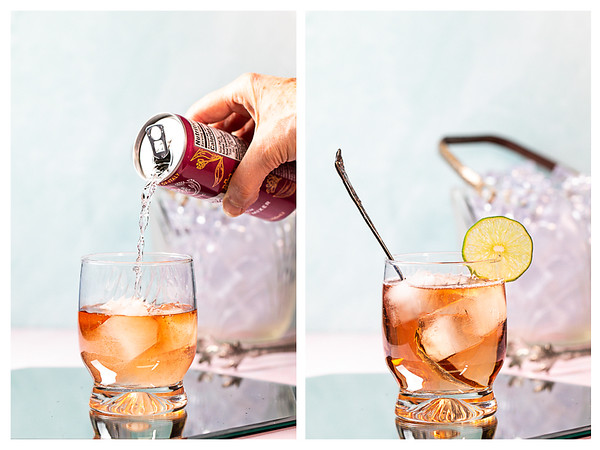 Photo collage showing tonic water being poured into glass and then stirred and garnished with a lime wheel.