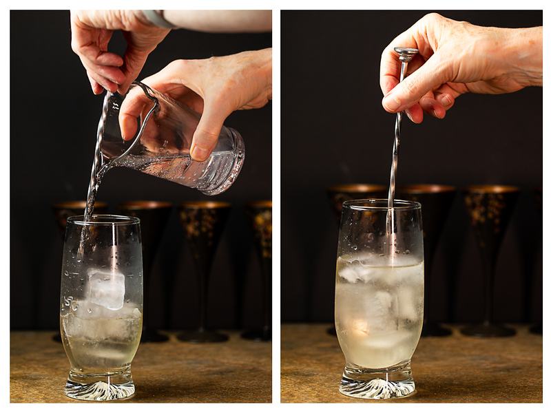 Photo collage showing club soda added to a highball glass and cocktail being stirred.