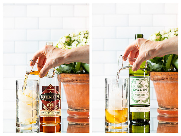 Adding rye whiskey and the vermouth to a cocktail mixing glass.