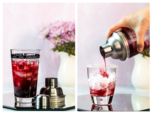 Photo collage showing cocktail shaker filled with deep purple cocktail and then strained into a glass.