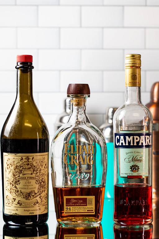 Sweet Vermouth, bourbon, and Campari.