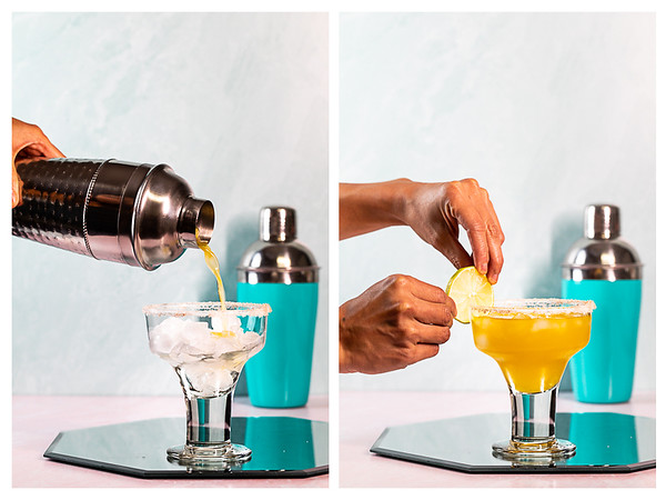 Photo collage showing cocktail strained into glass and lime wheel being place on the glass.