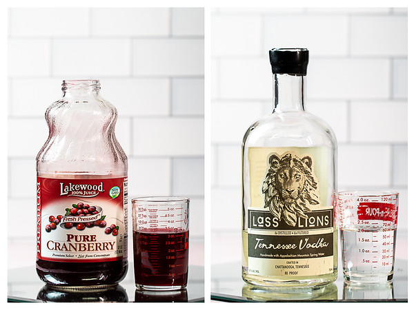 Photo collage showing cranberry juice and vodka.