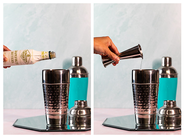 Photo collage showing bitters and triple sec being added to cocktail shaker.