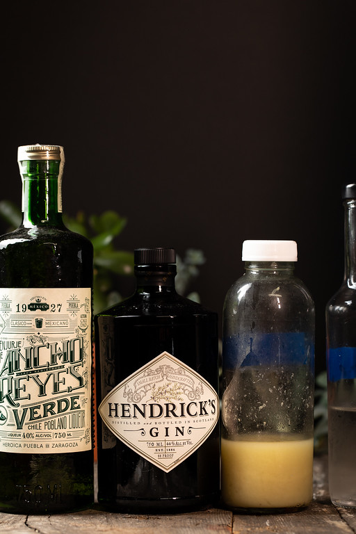Ancho Reyes Verde, Hendrick's gin, lime juice and simple syrup.
