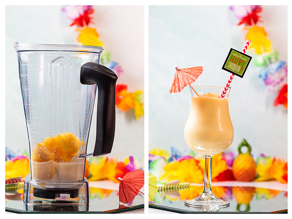 Photo collage showing cocktail ingredients in a blender and the cocktail in a glass.