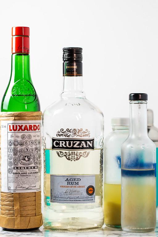 Maraschino liqueur, rum, lime juice.