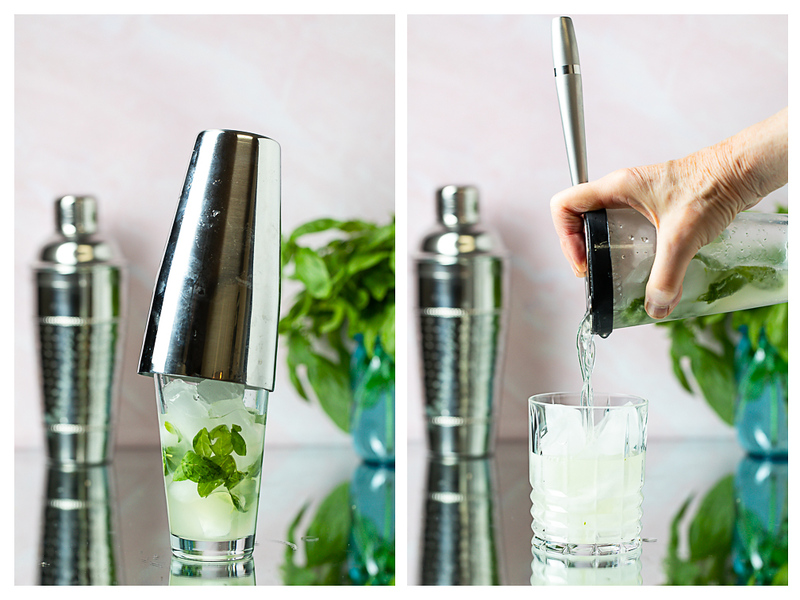 Photo collage showing cocktail shaker and then cocktail being strained into ice filled glass.