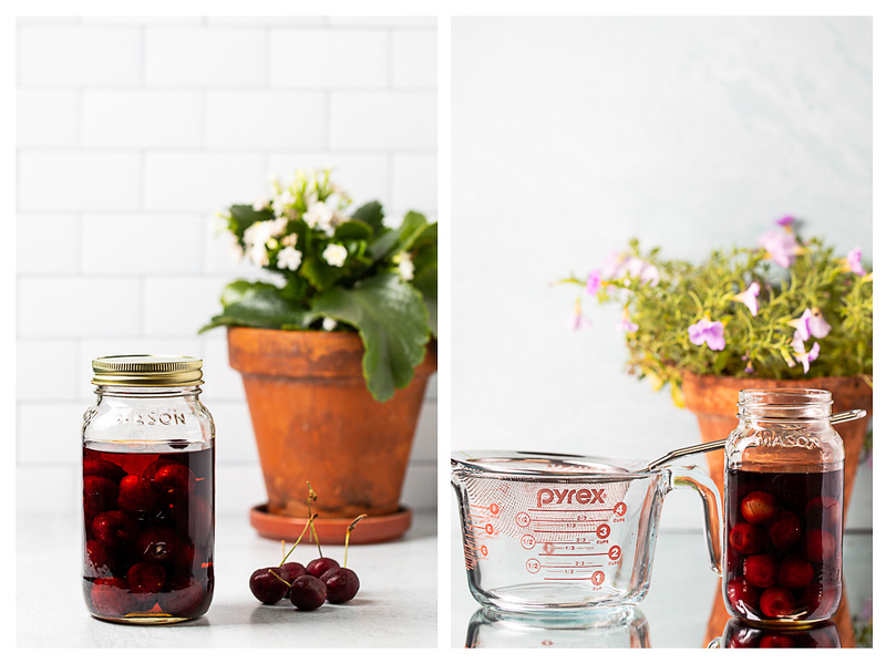 Photo collage showing cherries in a jar and cherries in a jar next to a measuring cup.