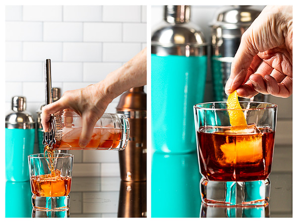 Photo collage showing cocktail being strained into glass and then garnished with an orange peel.