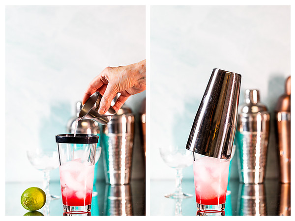 Photo collage showing lime juice poured into a cocktail shaker and then a lid placed on the cocktail shaker.