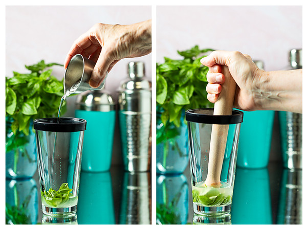 Photo collage showing simple syrup being poured into a cocktail shaker and then the ingredients in the shaker muddled.
