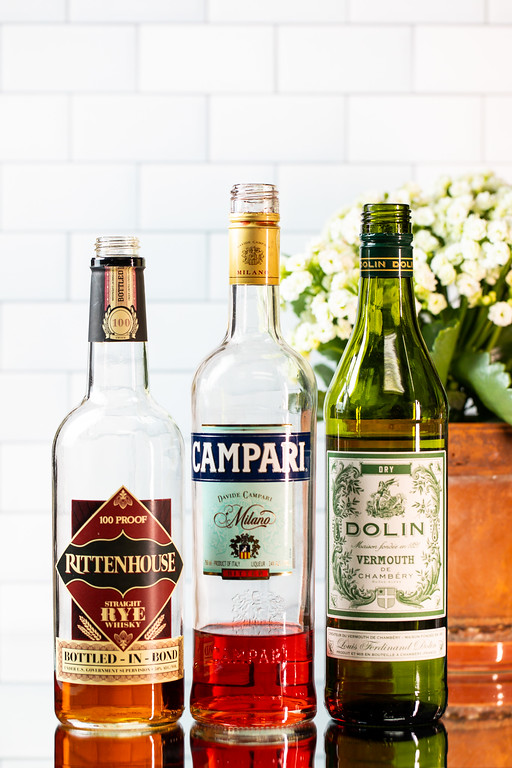 Rye whiskey, Campari and Dolin dry vermouth to make an Old Pal Cocktail.