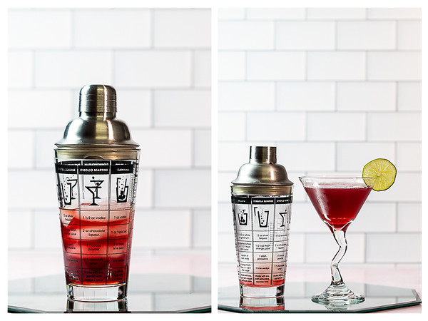 Collage showing cocktail in shaker and then strained into glass.