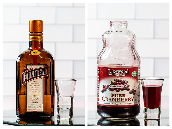 Cointreau and cranberry juice measured out for a cosmopolitan.