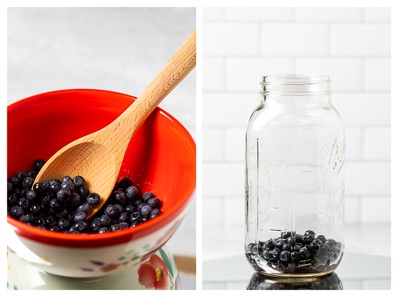 Blueberries in a bowl and then in a half gallon mason jar.