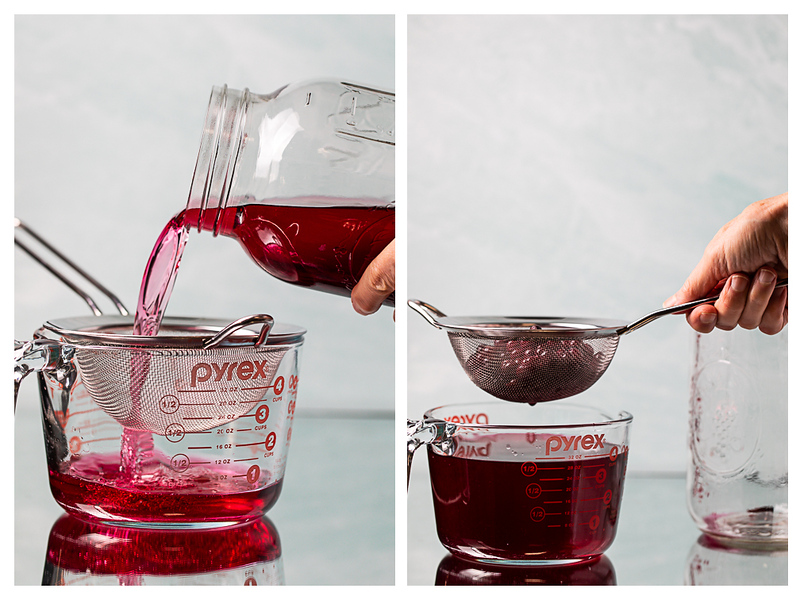 Photo collage showing blueberries being strained out of vodka.