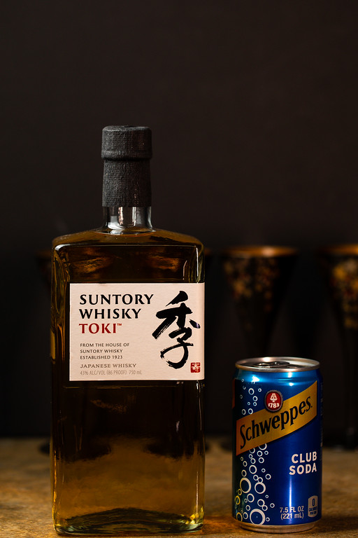 Suntory Whisky and a can of club soda.