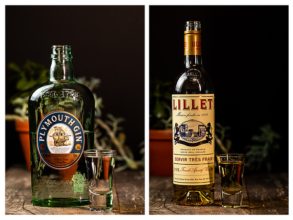 Plymouth Gin and Lillet Blanc poured out into shot glasses.