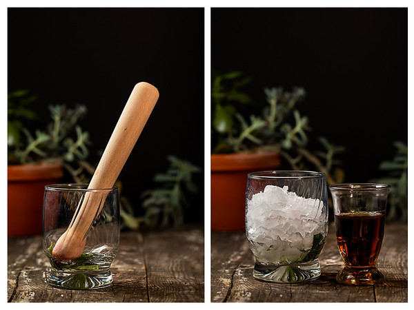 Photo collage showing muddling mint and adding bourbon to cocktail glass.
