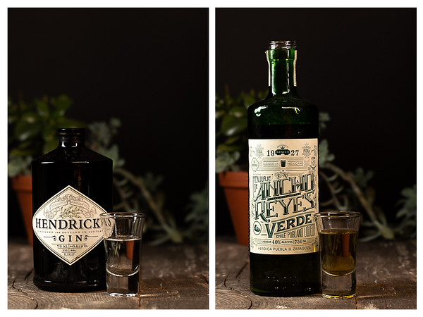 Photo collage showing gin and a chile liqueur.