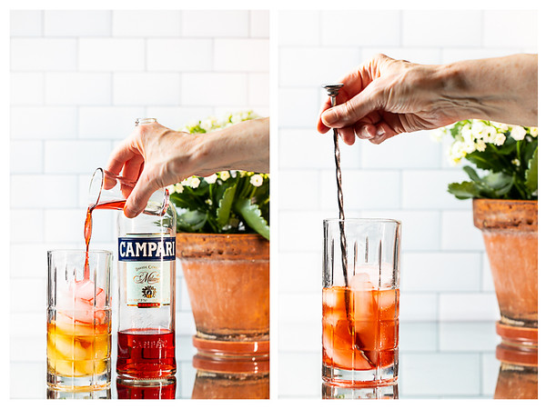 Collage showing Campari added to cocktail mixing glass and then the cocktail being stirred.