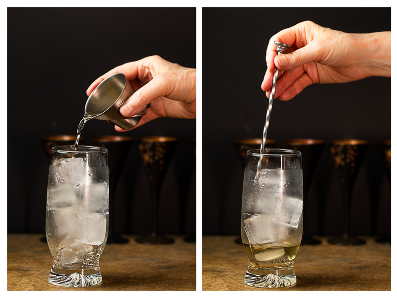 Photo collage showing whisky added to glass and then being stirred.