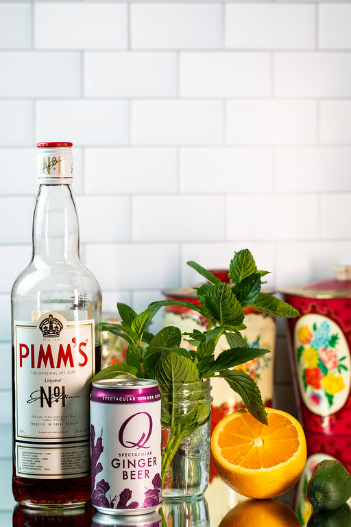 Pimm's No. 1, ginger beer, mint, orange, and a cucumber.