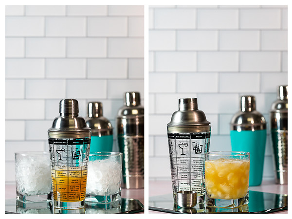 Photo collage showing cocktail in shaker and then in glass.