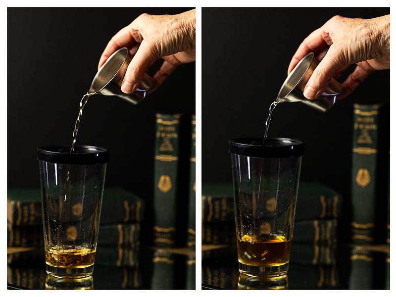 Photo collage showing brandy and orange liqueur being added to a cocktail shaker.