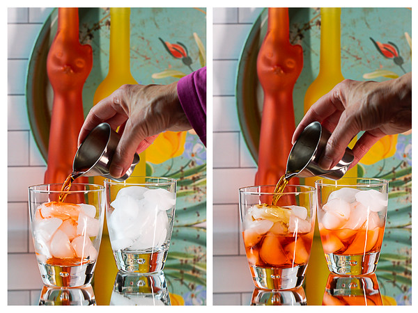 Photo collage showing Aperol and vermouth being poured into an ice filled glass.
