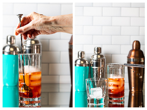 Photo collage showing cocktail being stirred and strainer placed over the glass.