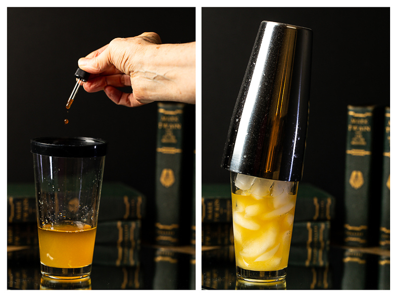 Photo collage showing bitters being dropped into cocktail shaker and shaker filled with ice and topped with a lid.