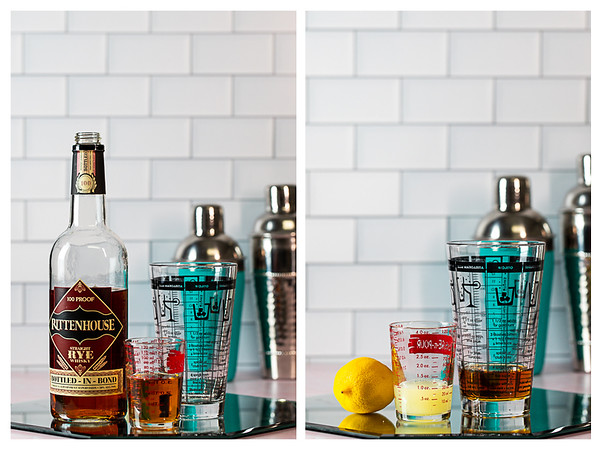 Photo collage showing the rye whiskey and lemon juice being added to cocktail shaker.