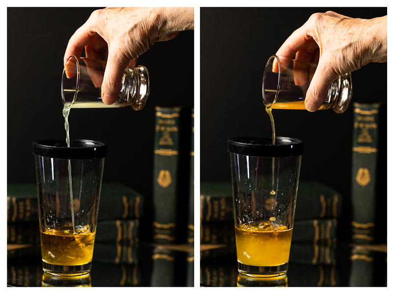 Photo collage showing lemon juice and apple cider added to a cocktail shaker.