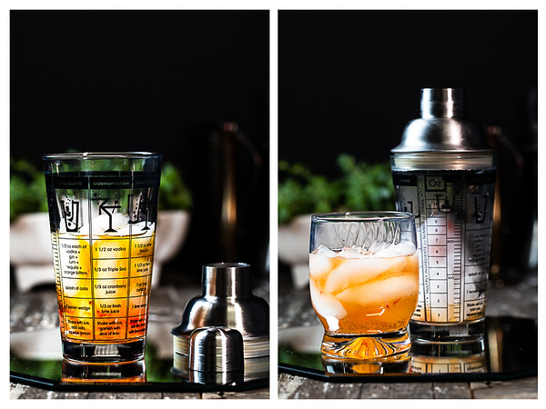 Photo collage showing the cocktail in the shaker and then in the glass.