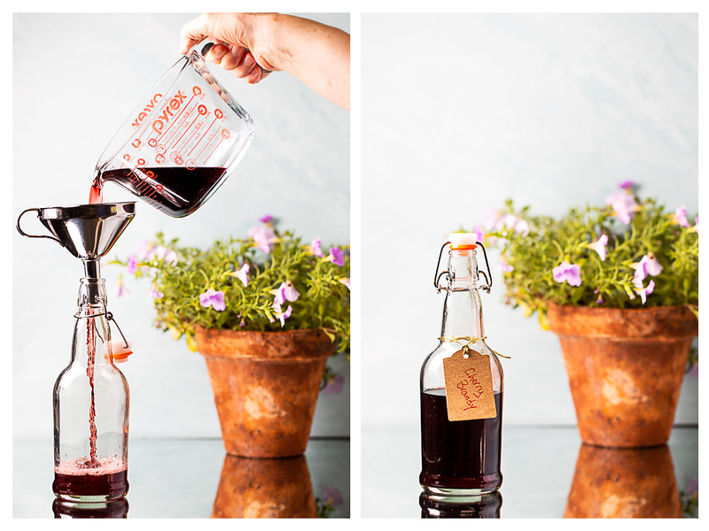 Photo collage showing cherry brandy being poured into a lidded bottle.