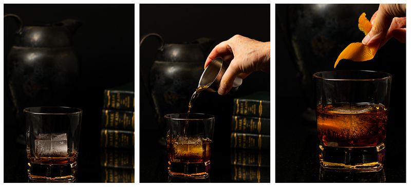 Photo collage showing ice added to glass, whiskey being poured in and an orange peel added for garnish.
