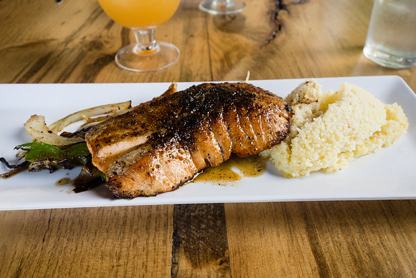 Bourbon Glazed Salmon with Grits from Monkey Town Brewing