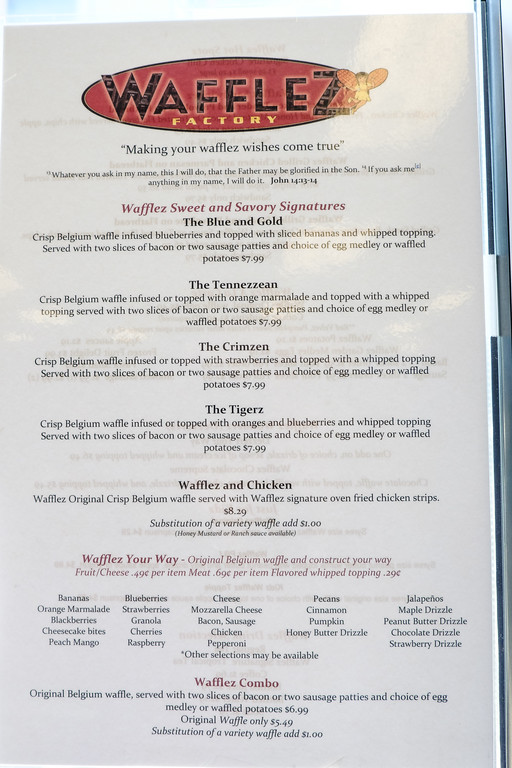 Wafflez Factory Menu Eating Out in Chattanooga