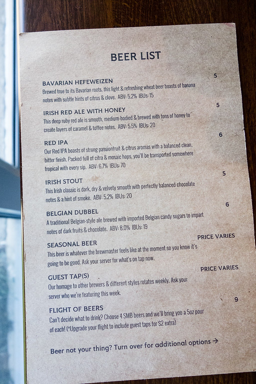 Beer Menu at Six Mile Bridge