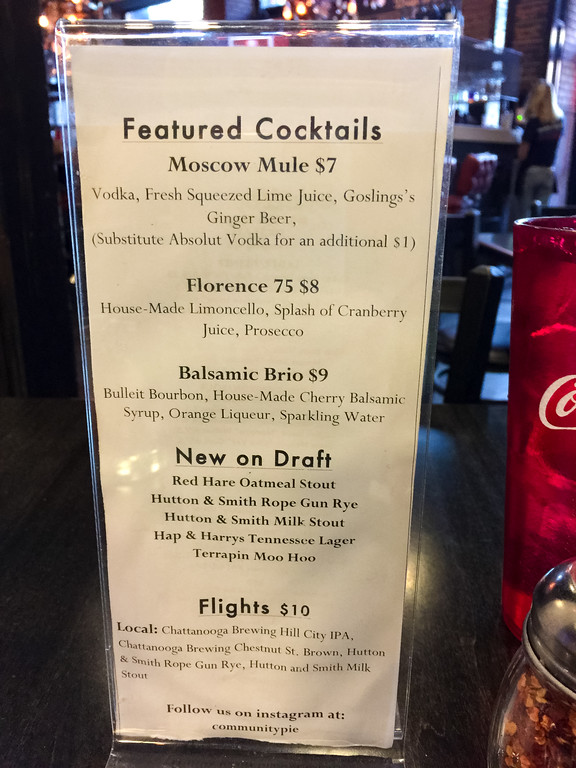 Cocktail menu at Community Pie