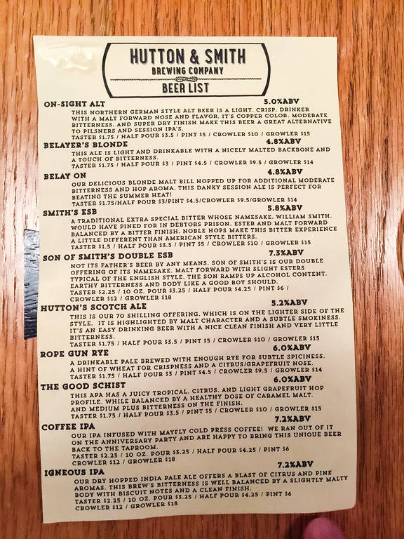 Beer list from Hutton & Smith Brewing