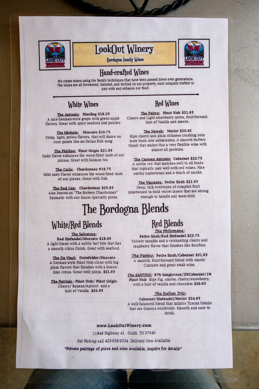 Lookout Mountain Winery Menu