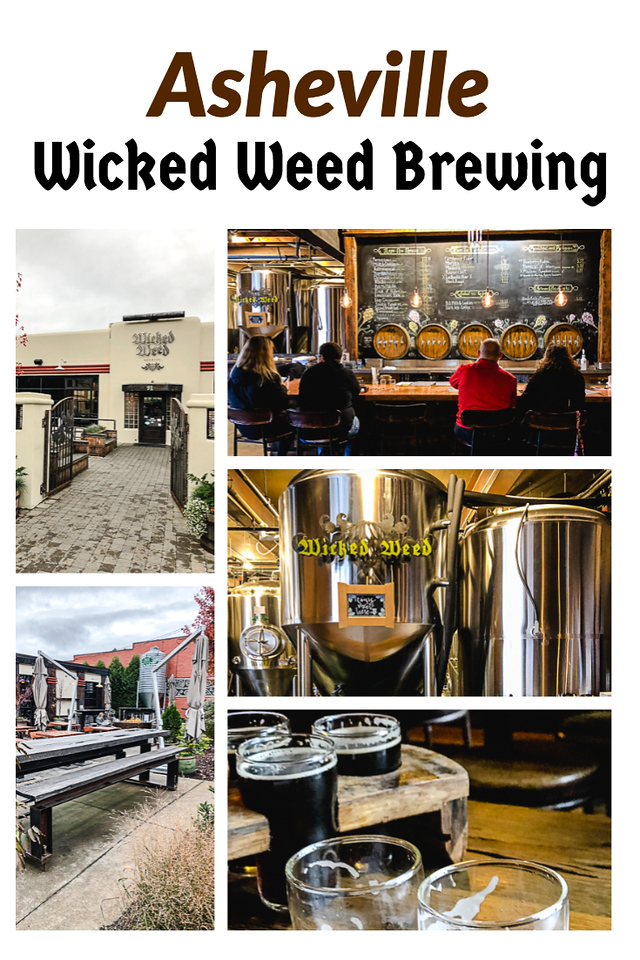 Collage of photos from Wicked Weed Brewing.