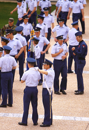 Isn't that sweet... United States Air Force Academy cadets get ready to march for their lunch
