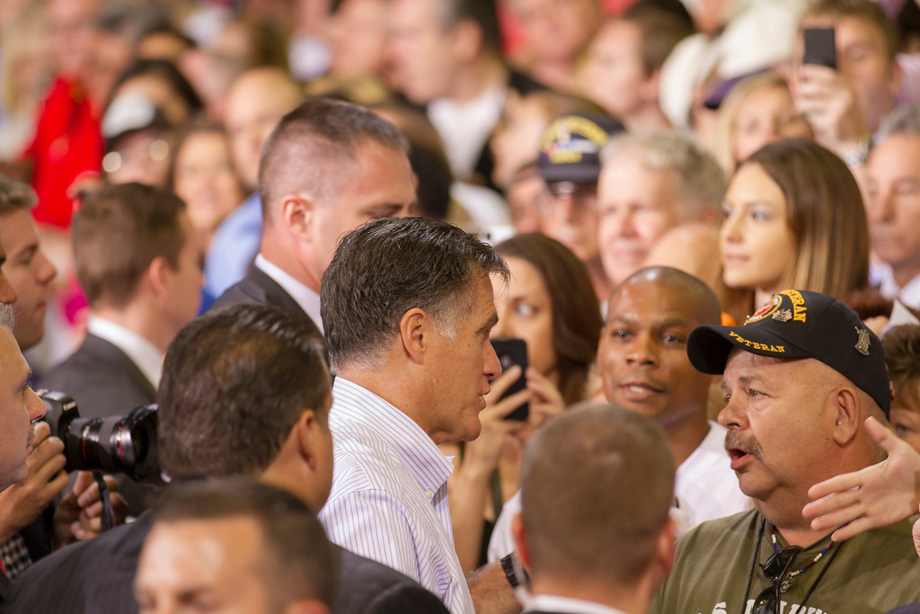 Mitt Romney speaks to a veteran.  Las Vegas, NV