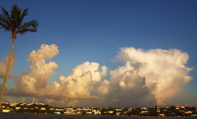 Some beautiful puffy clouds over the harbor in Hamilton, Hamilton, Bermuda