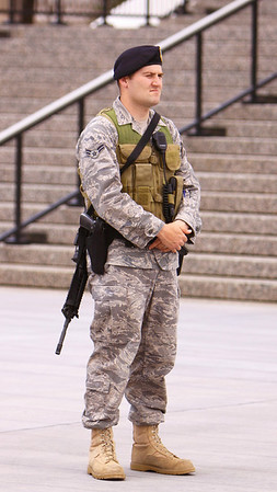 Protecting the nation, one small corner at a time. Air Force Academy Security Forces corporal standing guard